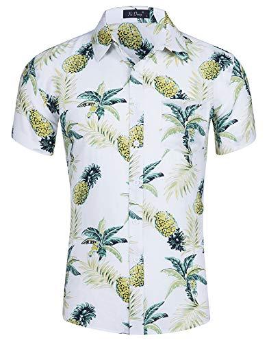 Idgreatim camicia uomo manica corta abbottonatura fantasia pattern funky party wear top da uomo
