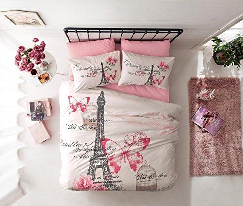 D & N deconation 100% Baumwolle Tröster Set Single Twin Full Größe Paris Pink Creme Eiffelturm Schmetterling Thema Betten Bettwäsche Bettdecke Doona Blatt, Baumwolle, merhfarbig, Volle Größe (Tröster Eiffelturm)