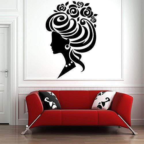 ziweipp Peluquería Etiqueta de la Pared Etiqueta de la peluquería Estilista del Cabello Mujer Hermosa de la Pared de Cristal Decoración Pegatinas de Vinilo calcomanías para Las niñas 84 * 57 cm