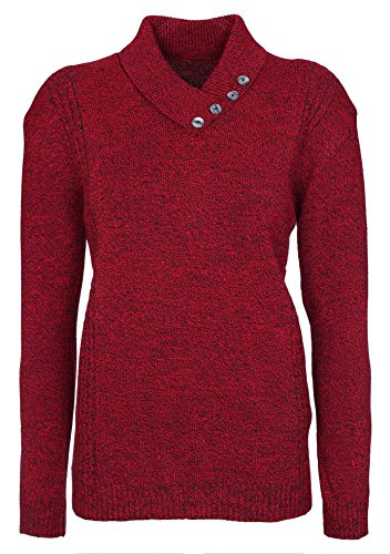 Lets Shop Shop New Womens Ladies Button Collar Long Sleeve Top Knitted Jumper Pullover Sweater Plus Size 12 14 16 18