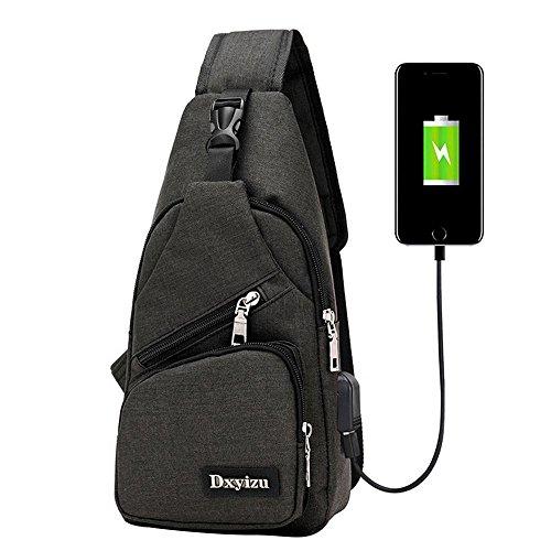 Aolvo Rucksack mit USB Lade-Port Anti-Diebstahl für Damen Herren, Casual Sling Bag Schulter Umhängetasche Brust Tasche Für Reisen/Wandern/Outdoor Sport, Schwarz