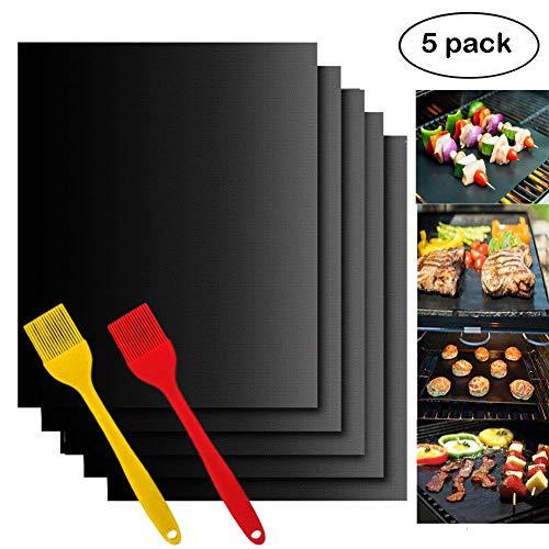 Woson Lot de 5 tapis de barbecue antiadhésive (40 x 30 cm) Home Cuisine Cuisson barbecue Tapis de feuilles – Idéal pour la cuisson au gaz, Charbon de bois, four électrique ou Grilles Accessoires de Barbecue avec 2 Coque en silicone BBQ badigeonner brosses, 5 mat+2 brushes, Noir