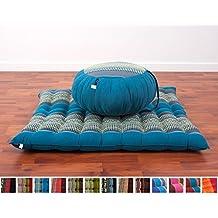 Leewadee Zafu Zabuton - Juego de cojn y alfombra de meditacin (40 x 20 cm y 76 x 72 cm), color azul