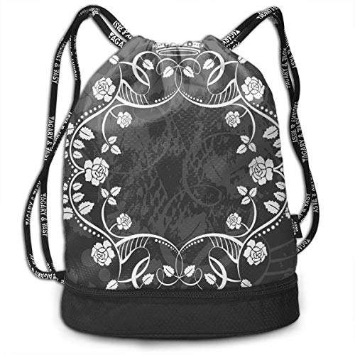Cupsbags Antique Circular Flora Lightweight Portable Drawstring Bag Backpack Bundle Backpack