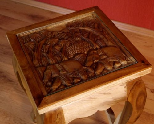 Asian Opium Table, Coffee Table With Elephant Carvings, End Table Handmade  In Thailand (