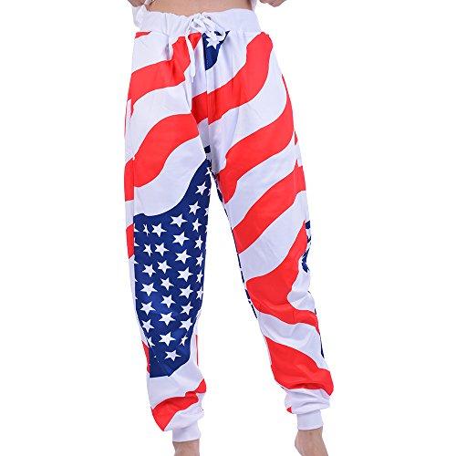 Shujin Damen Sommer Freizeithose USA Flagge aufdrucken mit Kordelzug Jogger Hose Loose Sweatpants Lang Sporthose