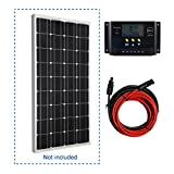 Giosolar 100W Solar Panel 100Watts 12v Monocrystalline Solar Panel 100W, 90mm of special cable with MC4 connectors attached, Off Grid 12 Volt 12V RV Boat (Starter Kit-1)