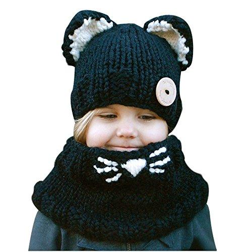 CCZZ Mädchen Junge Winter Strickmütze Schal Set Tier Zwei Stile Fox/Katze Mütze(3-10 (Schal Hut Katze Mit)