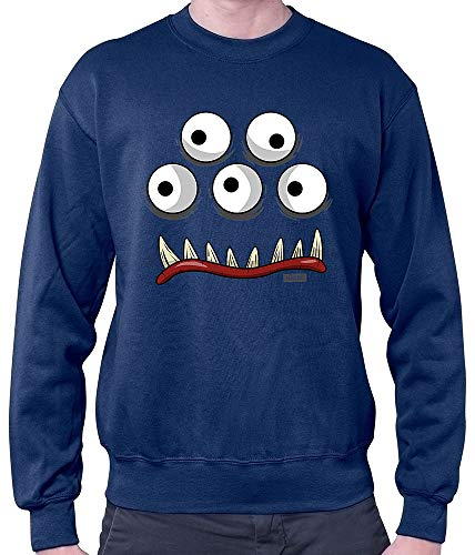 HARIZ Herren Pullover Monster Gesicht Karneval Kostüm Inkl. Geschenk Karte Navy Blau 3XL