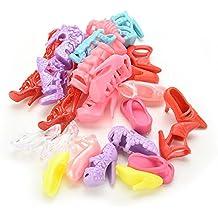 De pares de formas encantador de la al azar mantenerse al día tacones de zapatos 12 carrito de bebé de juguete sandalias planas de tela con para la 27,94 cm Barbie carrito de bebé de juguete