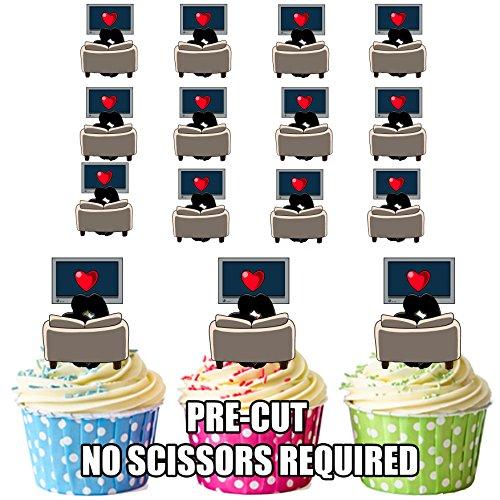 pre-cut Netflix e Chill-commestibile topper per cupcake/decorazioni per torte (confezione da 12)