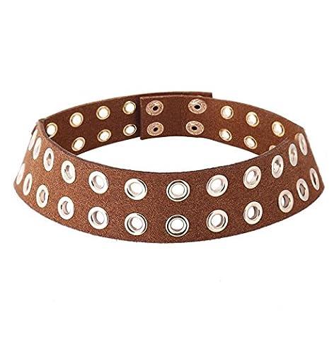 Caiyan PU Leather Diamond Necklace , brown
