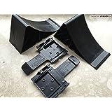 FKAnhängerteile - Calces para coche (4 unidades + 2 soportes), color negro