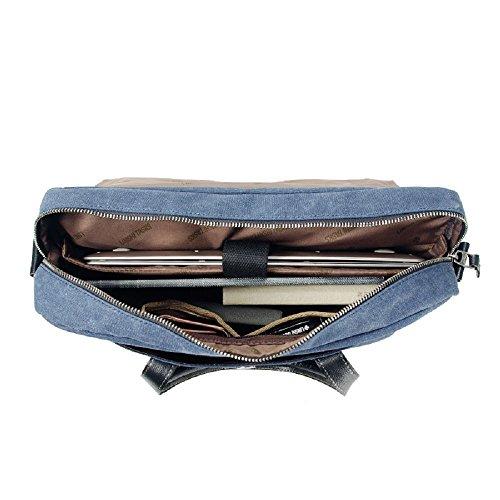 LST Herren Retro Canvas Aktentasche Herren Handtaschen Herren Umhängetasche Herren Laptop Tasche Hohe Qualität LS152A (Blau) Blau
