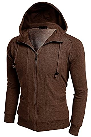 Men's Spring Casual Active Long Sleeve Slim Fit Zip-Up Solid Hoodie Jacket (L, Brown)