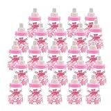 Forepin Candy Flaschen Baby Süßigkeiten Flaschen Befüllbare Flasche Mini Dekoschnuller Candy Baby Dusche Begünstigt Gastgeschenk Taufe als Partygeschenk Selbstbefüllbar 24 Pcs - Rosa