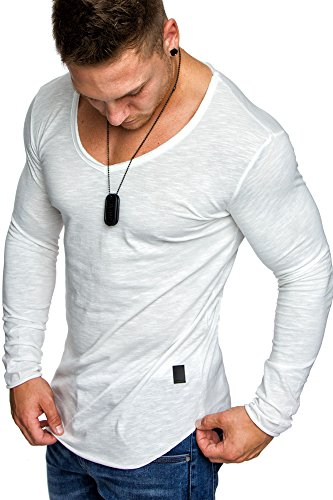 Amaci&Sons Oversize Herren Longsleeve Vintage Sweatshirt V-Neck Basic V-Ausschnitt Shirt 6060 Weiß S