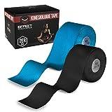 Effekt Manufaktur Kinesiologie Tape in verschiedenen Farben (5m x 5cm) - Kinesiotapes wasserfest + elastisch für Sport - Kinesiotape Sporttape - Physio Tape Kinesio Tapes (Hellblau + Schwarz 2er Set)
