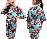 Swallowuk Kinder Mädchen Morgenmantel Kimono Nachtwäsche Bademantel Pyjamas mit Blumenmuster für Sleepwear/Party/Hochzeit (14, Blau)