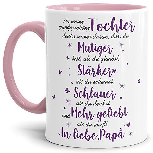 Tasse mit Spruch von dem Vater für die Tochter - Kaffeetasse/Familie/Geschenk-Idee/Mug/Cup/Innen & Henkel Rosa