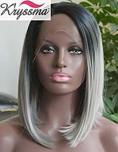 K'ryssma Grey Ombre Hair Short Bob Wigs for Black Women