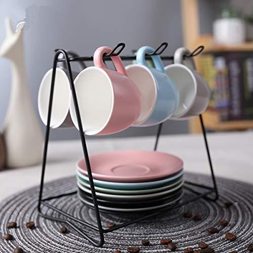 SHACOS 6-teilig Espressotassen Set aus Porzellan,Kaffeetassen mit Untertasse und MetallStänder,12-teilig,Bunte Serie