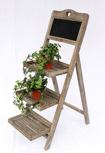 Pflanzentreppe aus Holz 12061 mit Kreidetafel Höhe-110cm Blumenständer Blumentreppe