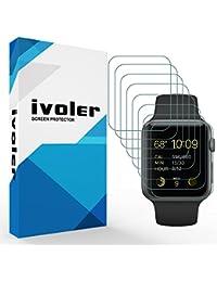 [Nuevo Version] iVoler Apple Watch 42mm Series 1 / Series 2 / Series 3 Protector de Pantalla, [8 Unidades] 3D Curvo Cobertura Completa [líquida Instalar] [Arañazos Resistente] [No Burbujas] HD Transparente TPU Suave láminas Protectora para Apple Watch 42mm Series 1 2015 / Series 2 2016 / Series 3 2017
