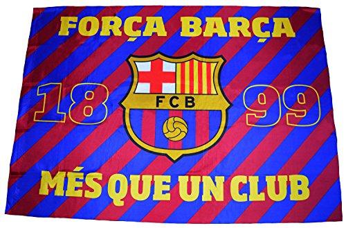 Fútbol Club Barcelona - Bandera del F.C. Barcelona con el escudo y el lema «Més que un club» - Dimensiones...