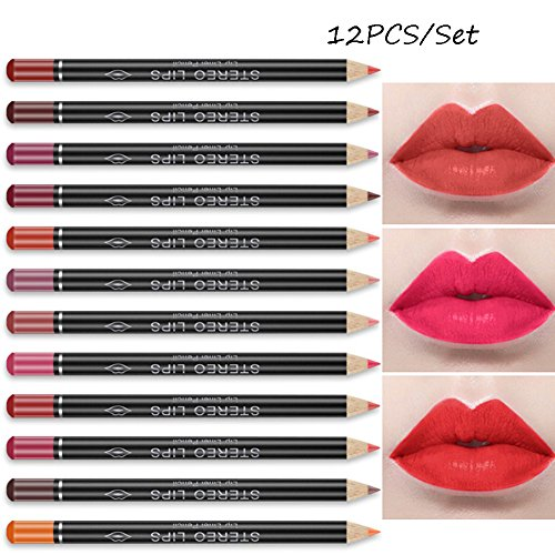 allbesta 12 couleurs Lip Liner contour Crayons imperméable Rouge foncé rouge marron Lèvres rouges de crayon