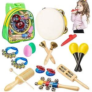 51t45FRbXCL. SS300  - Smarkids Instrumentos Musicales Infantiles, juguetes musicales instrumentos de percusión juguetes niños educativos maracas shakers panderetas regalos de navidad para niños y niñas con mochila 3~8 año