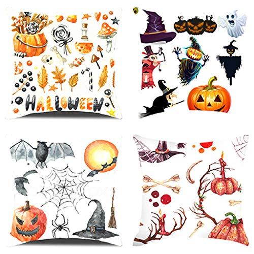 Yowablo Kissenbezug Kissenhülle Wurfkissenbezug Halloween Kürbis Anime Cartoon Drucken Muster für Büro,Zuhause,Auto,Café,Laden,Bibliothek usw (45cm x 45cm,4er A5)