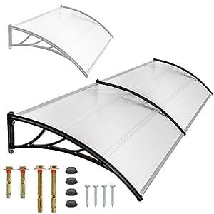TecTake Pensilina tettoia in policarbonato per porta o finestra per esterno - disponibili in diverse misure - (190x100cm)