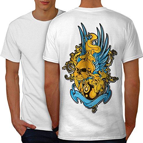 wellcoda Motorradfahrer Metall Flügel Schädel Männer 3XL Ringer T-Shirt (Flügel Ringer T-shirt)
