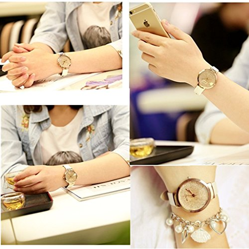 JSDDE Uhren,Elegante Damen Armbanduhr Braunglas Glitzer Dial XS Slim PU Leder-Band Ladies Dress Analog Quarzuhr,Weiss - 5