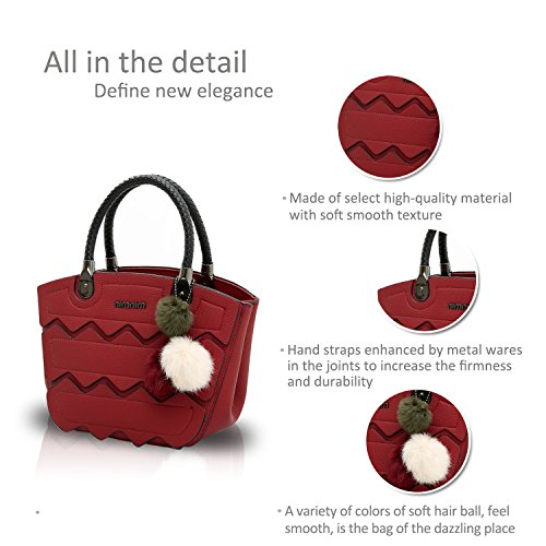 NICOLE&DORIS Nuovo Crossbody Moda Borsa Cartella Alla Spalla Messenger Casual Bag di PU Soft Donne Grigio Vino Rosso
