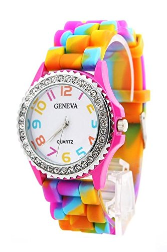 Price comparison product image Angelo Caro New Geneva Rainbow Crystal Rhinestone Watch Silicone Jelly Link Band