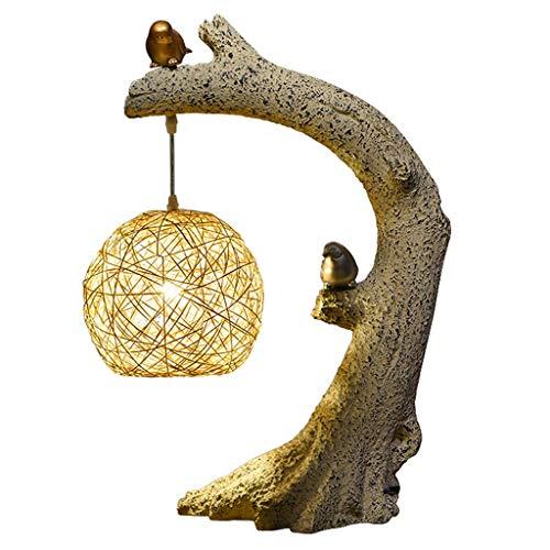 Nachttisch-Leuchte für Schlafzimmer Birds Homing Akzentlampe Naturpolyresin Perfect, Arm Tische, Bücherregal, Nachttisch, Kaminverkleidung, Cabin Cottage Style Homes Schreibtischlampe ( Color : B )