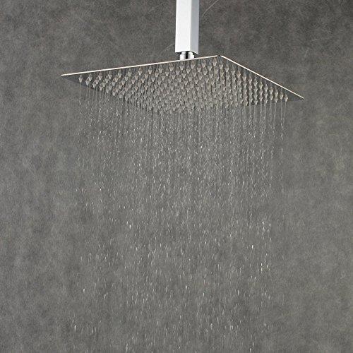 Beelee 12 Zoll Quadratische Duschkopf Regendusche Regenduschkopf Kopfbrause Regenbrause mit Anti-Kalk-Düsen Edelstahl poliert Spiegeleffekt hochglänzend