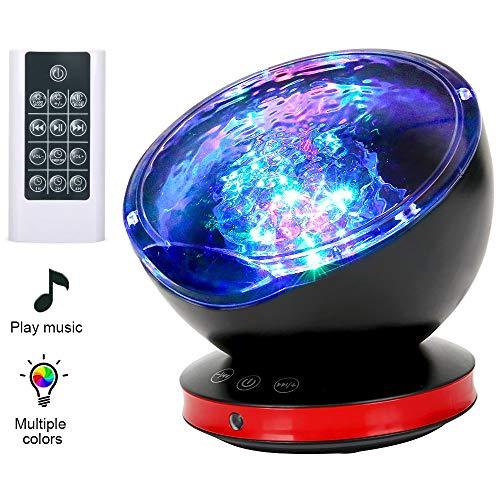 GRDE Projektor Lampe Fernbedienung Ozean Stimmungslicht Kinder 12LED 8 Beleuchtungsmodi 6 Schlafende Musik Nachtlicht Kind mit Timerfunktion Lautsprecherfunktion LED Projektor für Kinder Geschenk