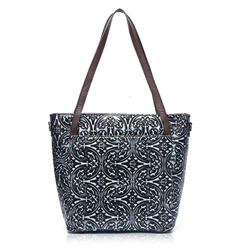 APHISON Designer-Handtasche aus echtem Leder, geprägt, Blumenmuster, klassisch, für Damen, 100 Stück, Schwarz (schwarz), Medium -