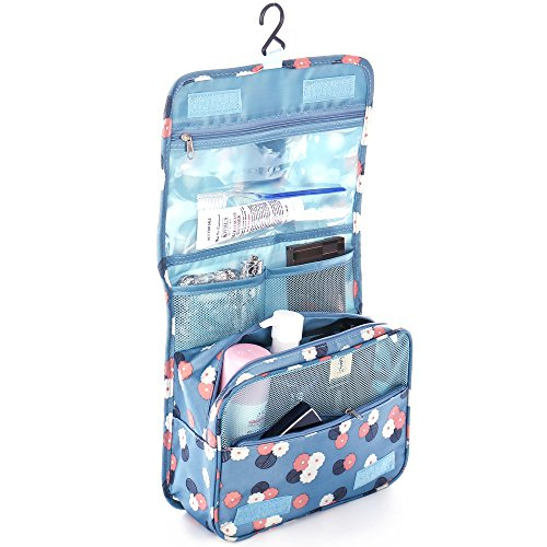 Shopper Joy Kulturtasche Kulturbeutel zum Aufhängen Kosmetiktasche Waschtasche Reisetasche für Damen Herren Kinder für Reise Zugreise Camping Outdoor - Blaue Blümchen