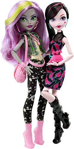 Monster Puppen-pack-sets High (Mattel Monster High DNY33 - WADMH 2-er Pack Puppen Geschenkset, Draculaura und Moanica, Ankleidepuppen)
