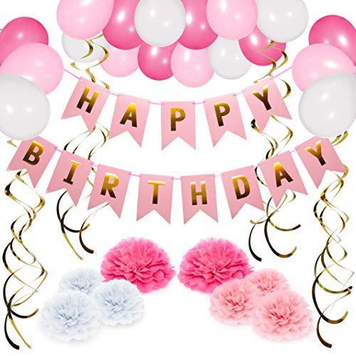 Deko Rosa Weiß - Happy Birthday Girlande, Geperlte Ballons, Pompoms, Spiralen - Geburtstagsdeko Party Deko Kindergeburtstag Zubehör Set Mädchen Frauen ()