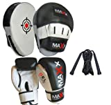 Curved Focus pads, Hook & Jab Pads with 10oz Gloves, Rope back & White