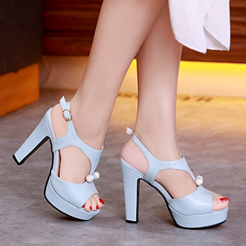 TAOFFEN Femmes Peep Toe Sandales Soiree Mode Plateforme Talons Hauts Slingback Chaussures De Boucle Bleu