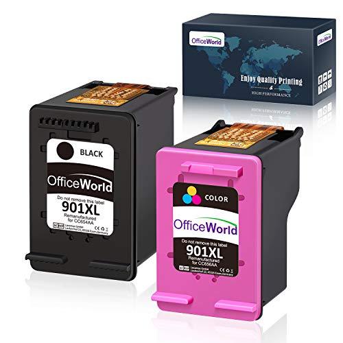 OfficeWorld Remanufactured HP 901 901XL Druckerpatronen Hohe Kapazität Kompatibel mit HP Officejet 4500, HP Officejet J4580, HP Officejet J4680 J4524
