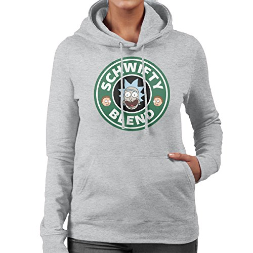 Rick And Morty Schwifty Blend Starbucks Logo Women's Hooded Sweatshirt Heather Grey