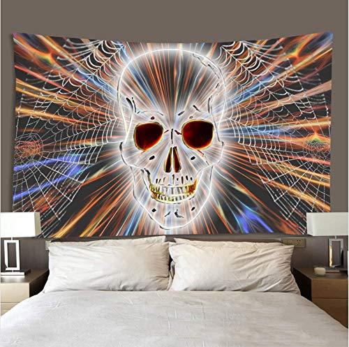 xiaodanhan Indian Hippie Tapisserie Bunte Spinnennetz Schädel Twin Size Bettwäsche Bettlaken Wandbehang Wohnheim Dekor Mehrfarbige Mandala Psychedelic Tischdecke 150X150Cm -