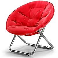 Silla plegable / para luna para adulto / con silla solar / con sillón reclinable / reclinable / con sillón plegable / redonda / con sillón / de color sólido silla plegable para el hogar / con sillón reclinable / ( Color : Rojo )
